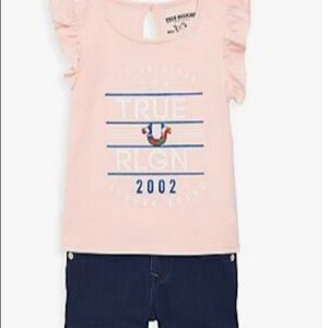 True Religion Flutter Sleeve Tee and Shorts